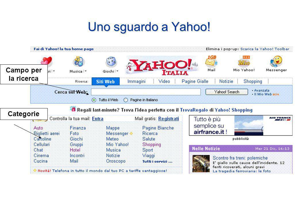 Uno sguardo a Yahoo! Campo per la ricerca Categorie