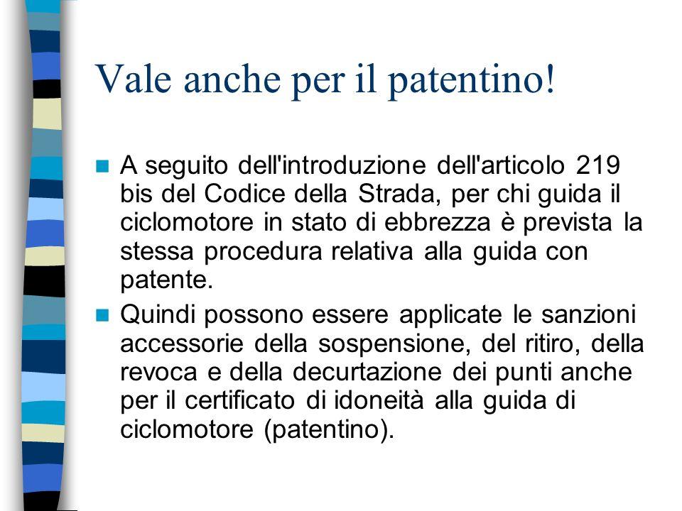 Vale anche per il patentino! A seguito dell'introduzione dell'articolo 219 bis del Codice della Strada, per chi guida il ciclomotore in stato di ebbre
