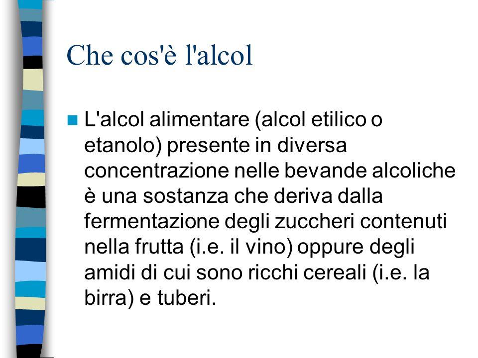 Che cos'è l'alcol L'alcol alimentare (alcol etilico o etanolo) presente in diversa concentrazione nelle bevande alcoliche è una sostanza che deriva da