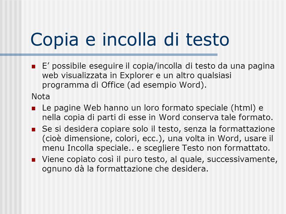 Copia e incolla di testo E possibile eseguire il copia/incolla di testo da una pagina web visualizzata in Explorer e un altro qualsiasi programma di O