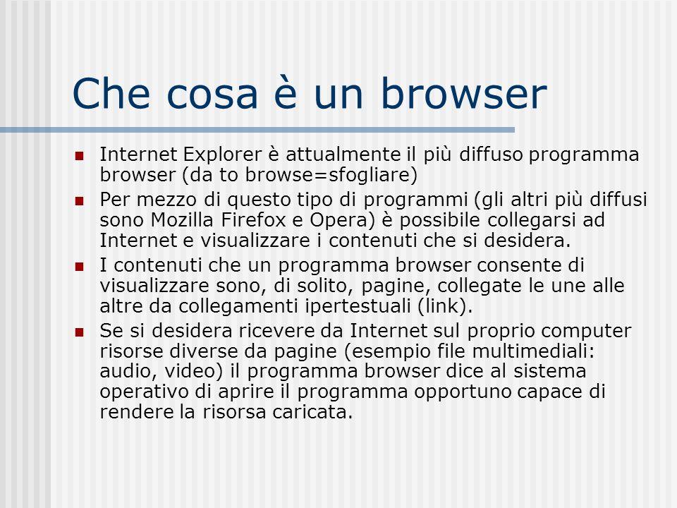 Che cosa è un browser Internet Explorer è attualmente il più diffuso programma browser (da to browse=sfogliare) Per mezzo di questo tipo di programmi