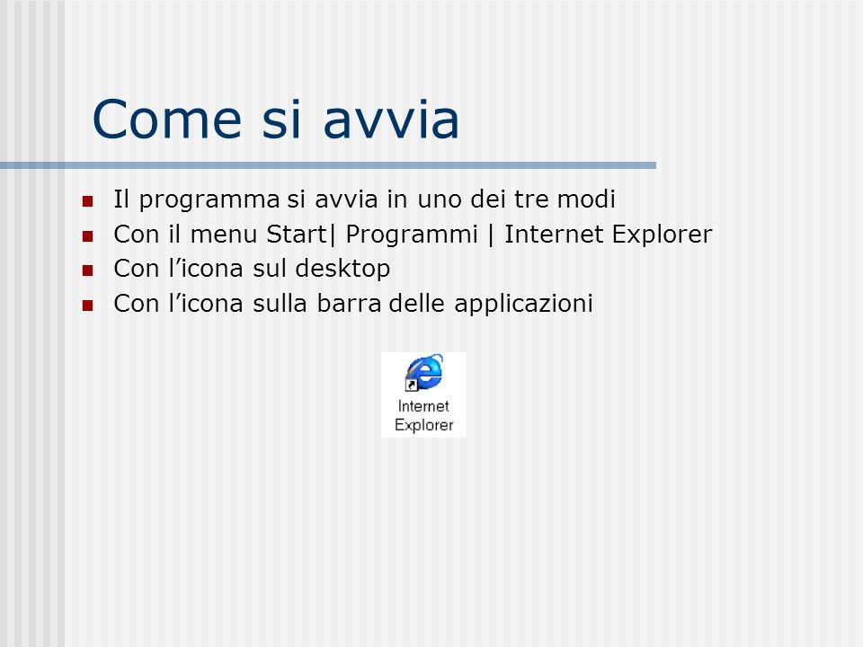 Come si avvia Il programma si avvia in uno dei tre modi Con il menu Start| Programmi | Internet Explorer Con licona sul desktop Con licona sulla barra