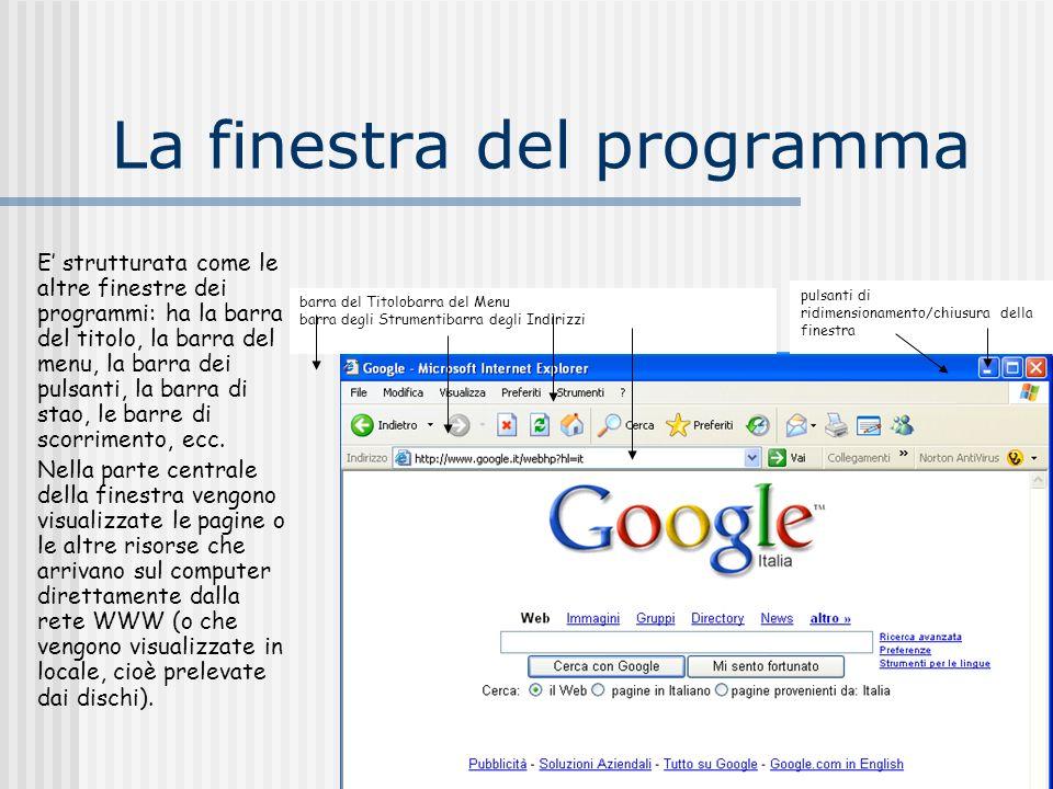 La finestra del programma E strutturata come le altre finestre dei programmi: ha la barra del titolo, la barra del menu, la barra dei pulsanti, la bar