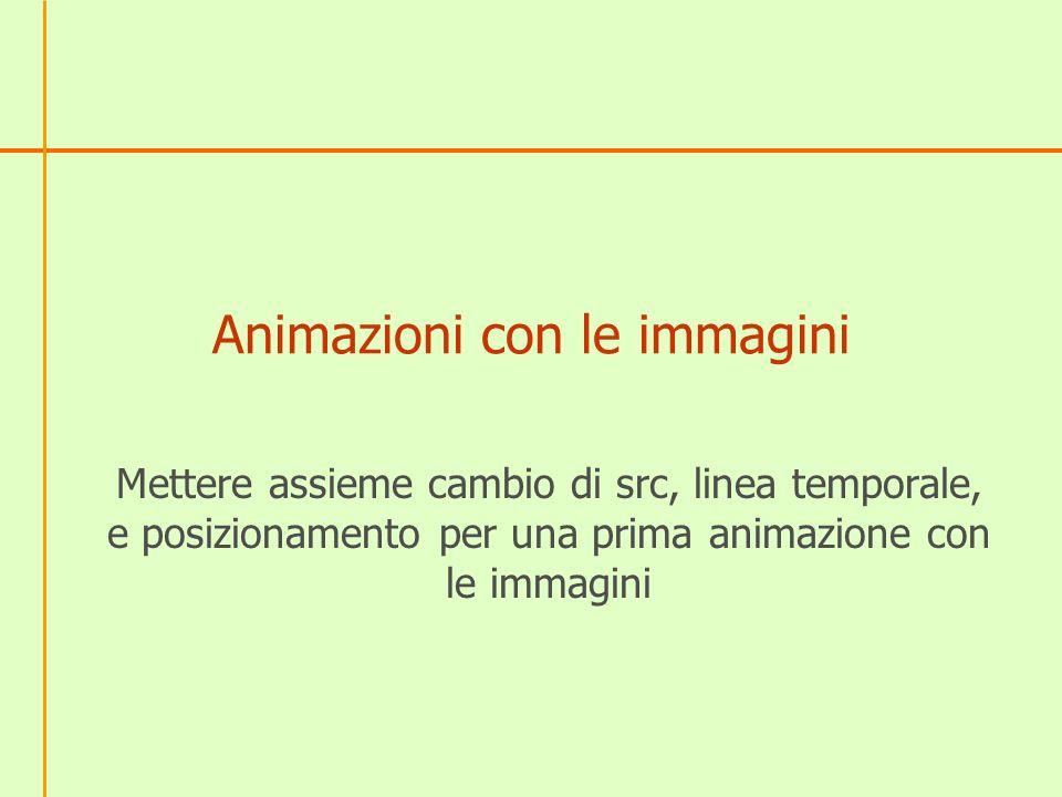 Animazioni con le immagini Mettere assieme cambio di src, linea temporale, e posizionamento per una prima animazione con le immagini