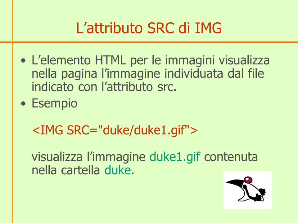 Lattributo SRC di IMG Lelemento HTML per le immagini visualizza nella pagina limmagine individuata dal file indicato con lattributo src. Esempio visua