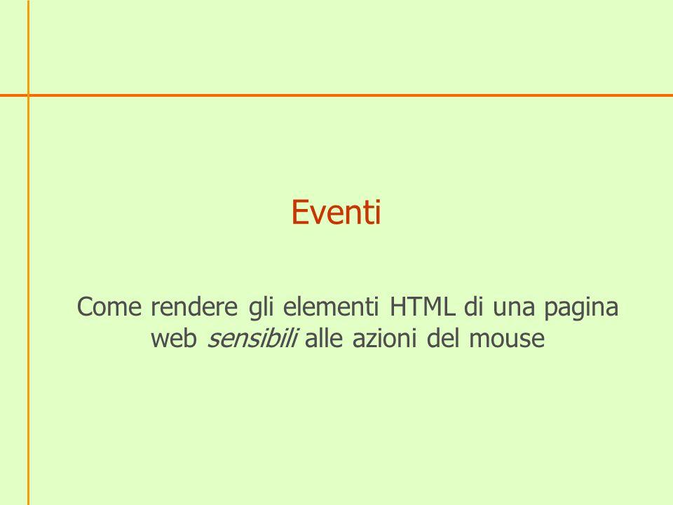 Eventi Come rendere gli elementi HTML di una pagina web sensibili alle azioni del mouse