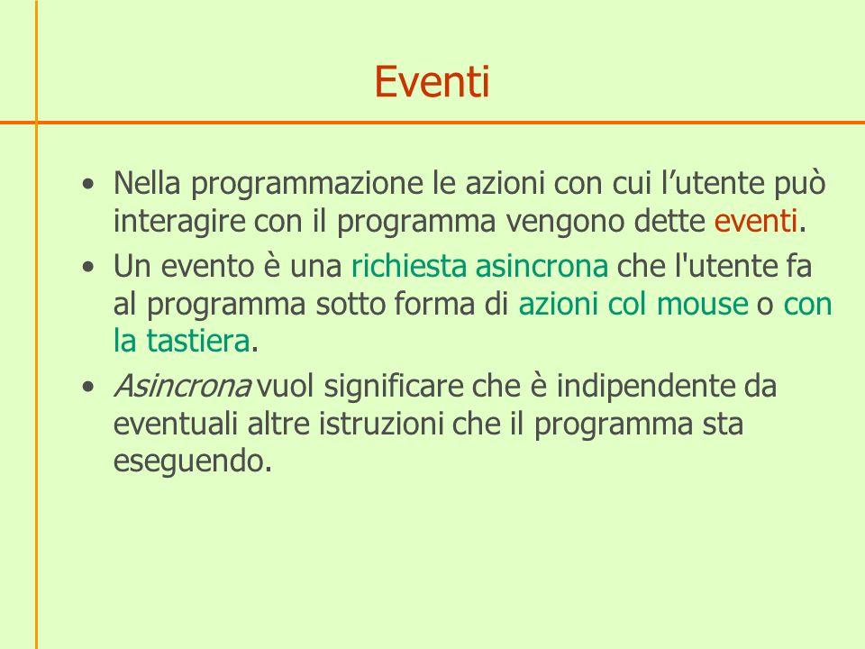 Eventi Nella programmazione le azioni con cui lutente può interagire con il programma vengono dette eventi.