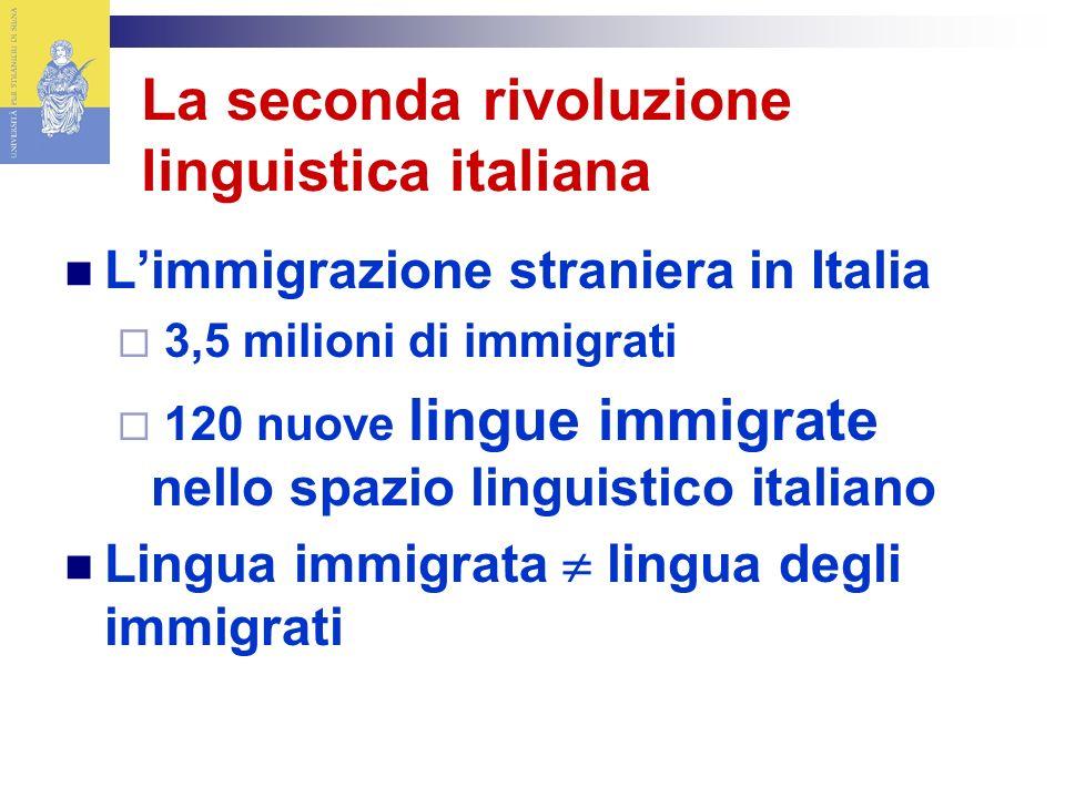 La seconda rivoluzione linguistica italiana Limmigrazione straniera in Italia 3,5 milioni di immigrati 120 nuove lingue immigrate nello spazio linguistico italiano Lingua immigrata lingua degli immigrati