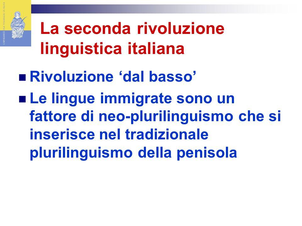 La seconda rivoluzione linguistica italiana Rivoluzione dal basso Le lingue immigrate sono un fattore di neo-plurilinguismo che si inserisce nel tradizionale plurilinguismo della penisola