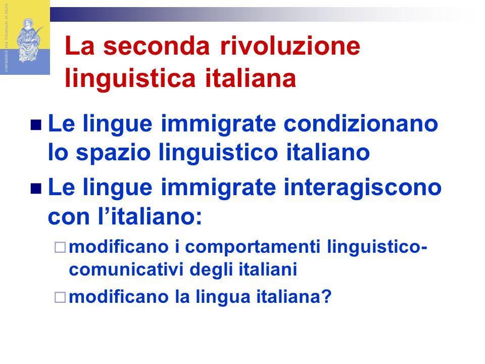 La seconda rivoluzione linguistica italiana Le lingue immigrate condizionano lo spazio linguistico italiano Le lingue immigrate interagiscono con litaliano: modificano i comportamenti linguistico- comunicativi degli italiani modificano la lingua italiana?