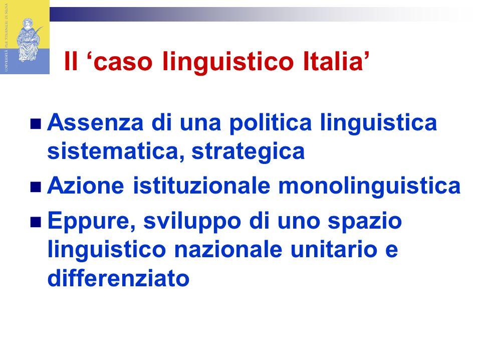 Il caso linguistico Italia Assenza di una politica linguistica sistematica, strategica Azione istituzionale monolinguistica Eppure, sviluppo di uno spazio linguistico nazionale unitario e differenziato