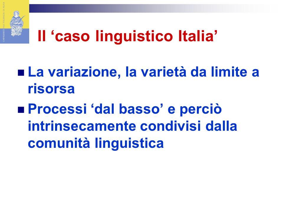 Il caso linguistico Italia La variazione, la varietà da limite a risorsa Processi dal basso e perciò intrinsecamente condivisi dalla comunità linguistica