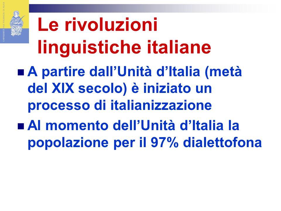 Le rivoluzioni linguistiche italiane A partire dallUnità dItalia (metà del XIX secolo) è iniziato un processo di italianizzazione Al momento dellUnità dItalia la popolazione per il 97% dialettofona