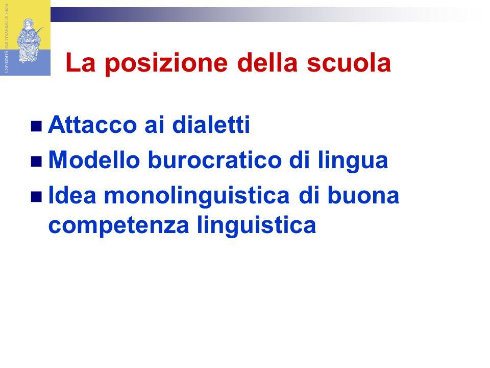 La posizione della scuola Attacco ai dialetti Modello burocratico di lingua Idea monolinguistica di buona competenza linguistica