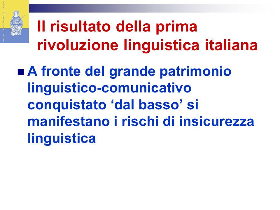 Il risultato della prima rivoluzione linguistica italiana A fronte del grande patrimonio linguistico-comunicativo conquistato dal basso si manifestano i rischi di insicurezza linguistica
