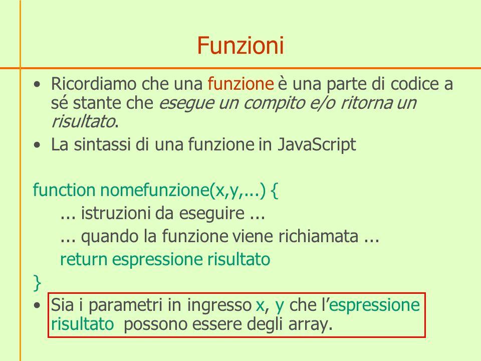 Funzioni Ricordiamo che una funzione è una parte di codice a sé stante che esegue un compito e/o ritorna un risultato.