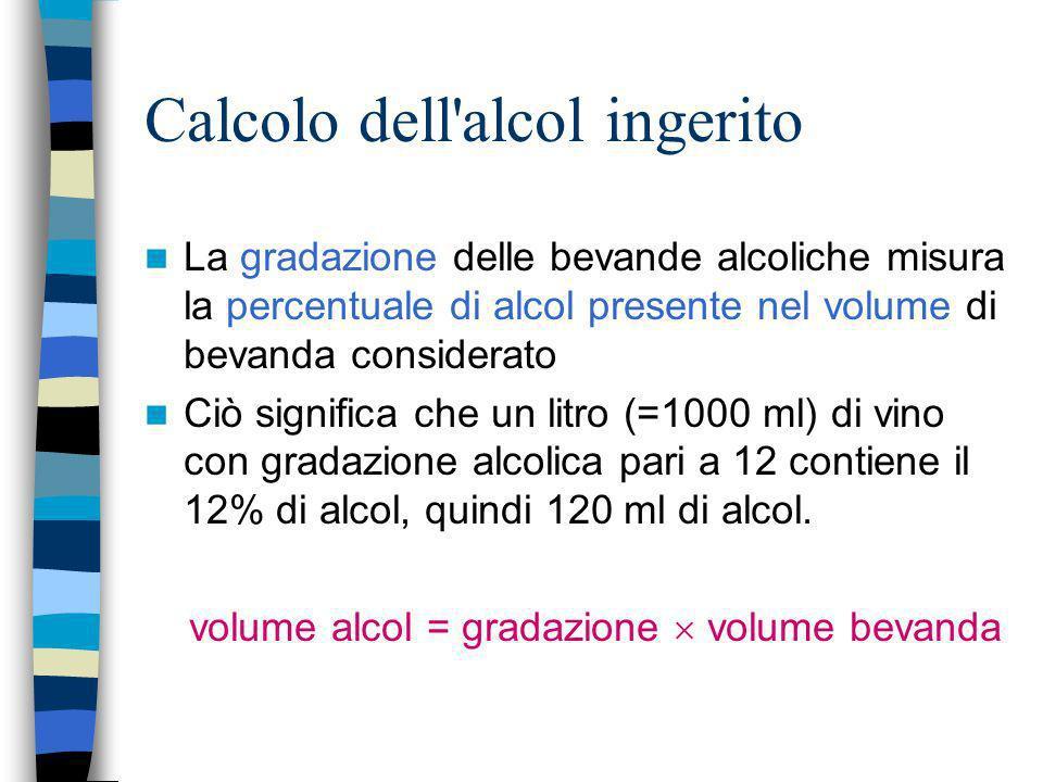 Calcolo dell'alcol ingerito La gradazione delle bevande alcoliche misura la percentuale di alcol presente nel volume di bevanda considerato Ciò signif