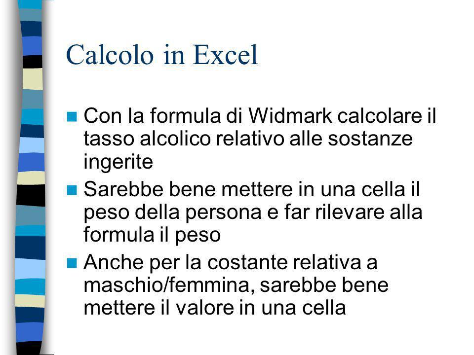 Calcolo in Excel Con la formula di Widmark calcolare il tasso alcolico relativo alle sostanze ingerite Sarebbe bene mettere in una cella il peso della