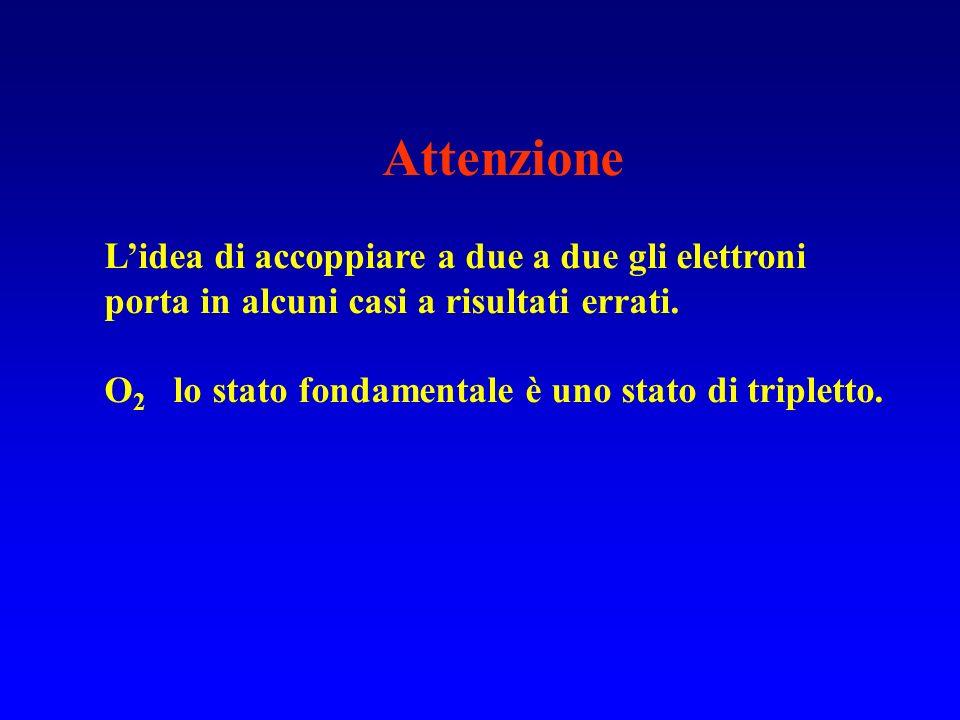 Attenzione Lidea di accoppiare a due a due gli elettroni porta in alcuni casi a risultati errati. O 2 lo stato fondamentale è uno stato di tripletto.