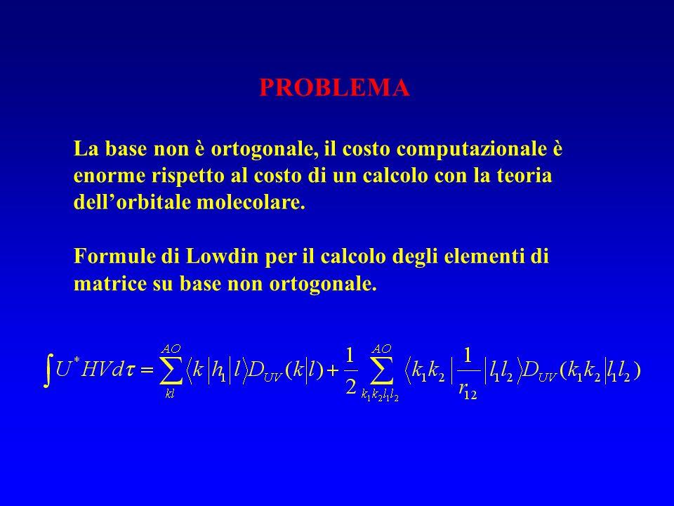 PROBLEMA La base non è ortogonale, il costo computazionale è enorme rispetto al costo di un calcolo con la teoria dellorbitale molecolare. Formule di