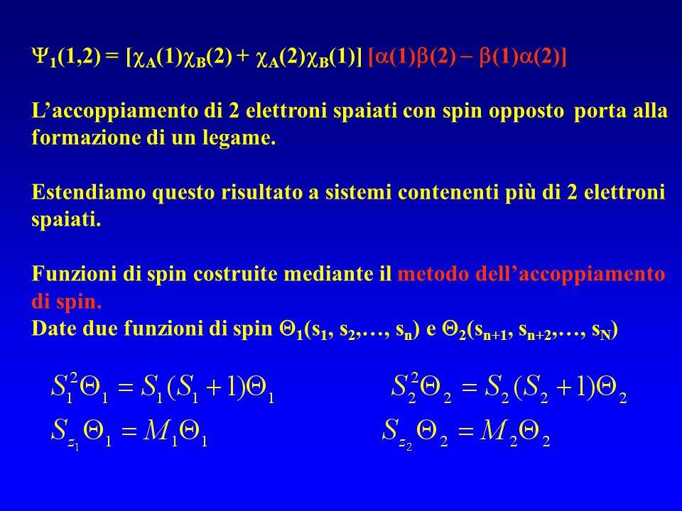 1 (1,2) = [ A (1) B (2) + A (2) B (1)] [ (1) (2) (1) (2)] Laccoppiamento di 2 elettroni spaiati con spin opposto porta alla formazione di un legame. E