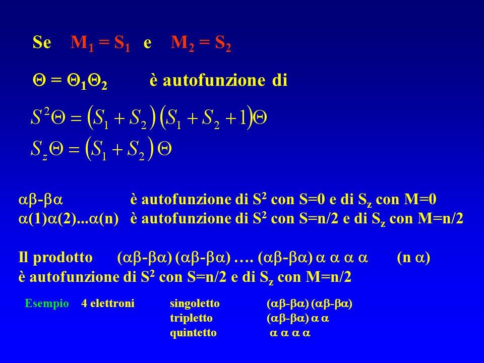 Se M 1 = S 1 e M 2 = S 2 = 1 2 è autofunzione di - è autofunzione di S 2 con S=0 e di S z con M=0 (1) (2)... (n) è autofunzione di S 2 con S=n/2 e di