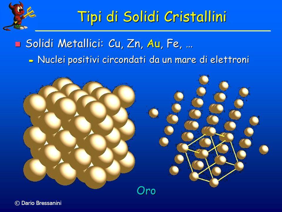 © Dario Bressanini Tipi di Solidi Cristallini Solidi Metallici: Cu, Zn, Au, Fe, … Solidi Metallici: Cu, Zn, Au, Fe, … Nuclei positivi circondati da un