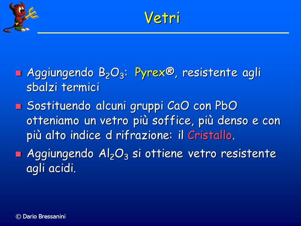 © Dario Bressanini Vetri Aggiungendo B 2 O 3 : Pyrex®, resistente agli sbalzi termici Aggiungendo B 2 O 3 : Pyrex®, resistente agli sbalzi termici Sos