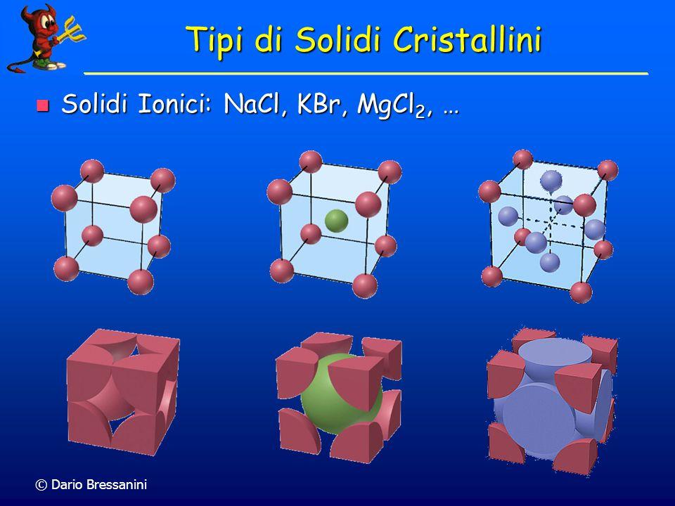 Tipi di Solidi Cristallini Solidi Ionici: NaCl, KBr, MgCl 2, … Solidi Ionici: NaCl, KBr, MgCl 2, …