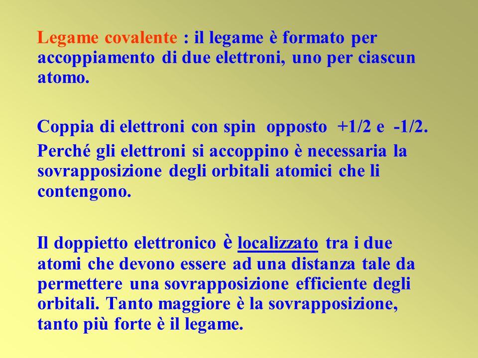 Legame covalente : il legame è formato per accoppiamento di due elettroni, uno per ciascun atomo. Coppia di elettroni con spin opposto +1/2 e -1/2. Pe