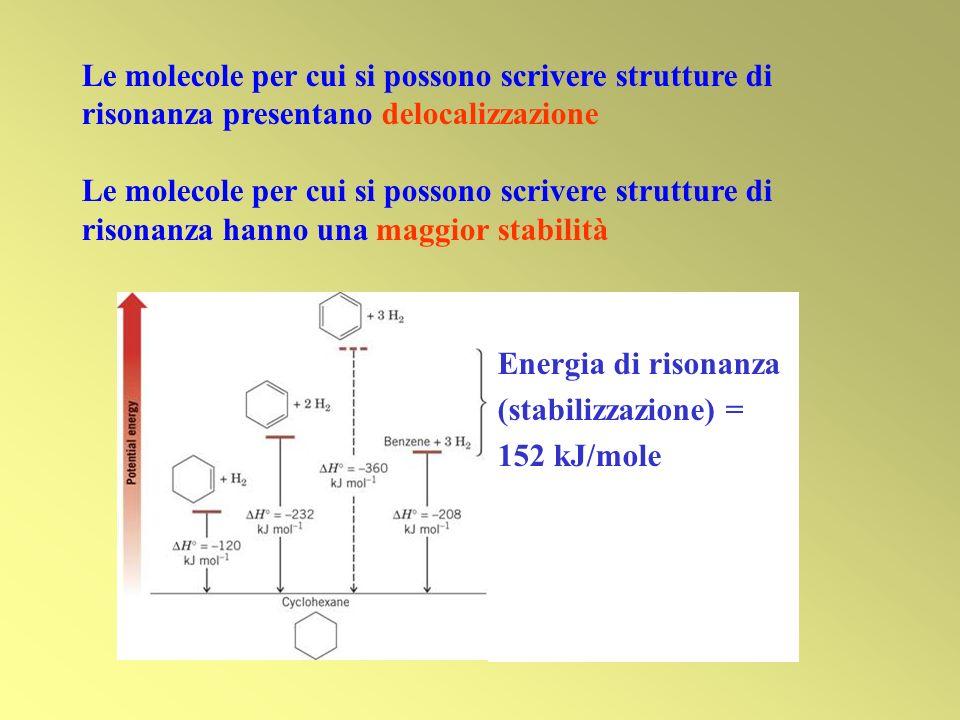 Le molecole per cui si possono scrivere strutture di risonanza presentano delocalizzazione Le molecole per cui si possono scrivere strutture di risona