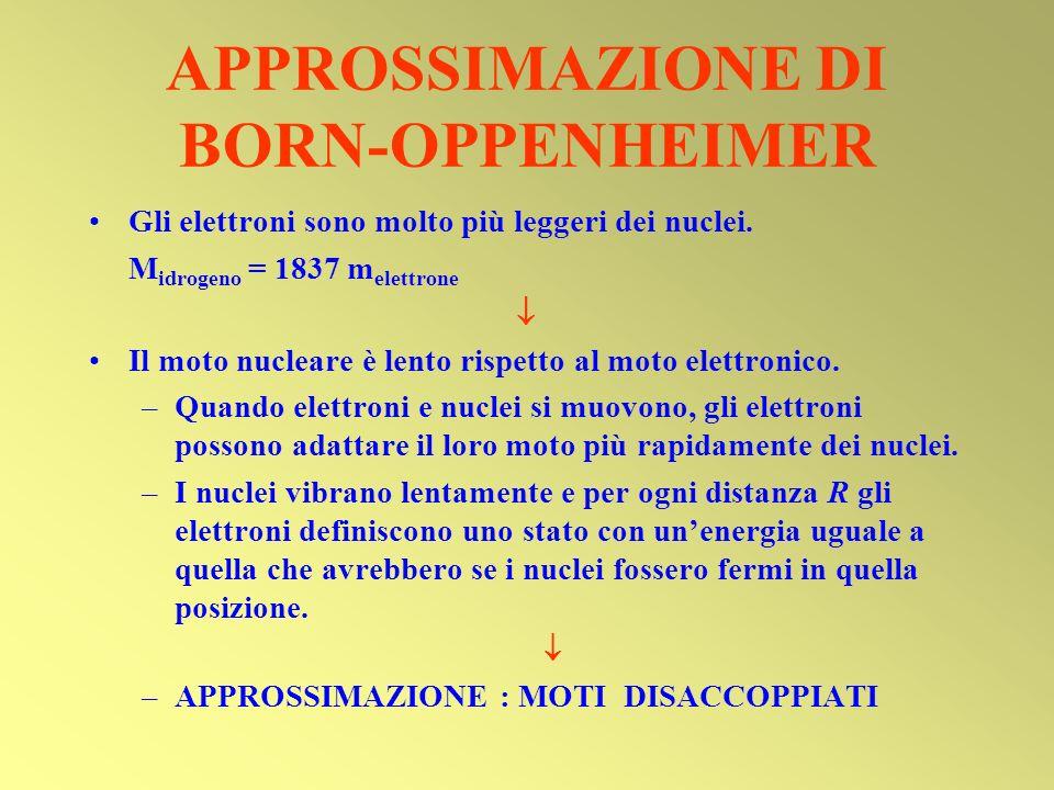 APPROSSIMAZIONE DI BORN-OPPENHEIMER Gli elettroni sono molto più leggeri dei nuclei. M idrogeno = 1837 m elettrone Il moto nucleare è lento rispetto a