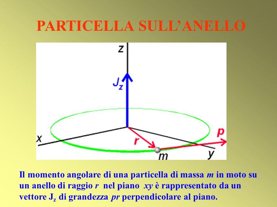 PARTICELLA SULLANELLO Il momento angolare di una particella di massa m in moto su un anello di raggio r nel piano xy è rappresentato da un vettore J z
