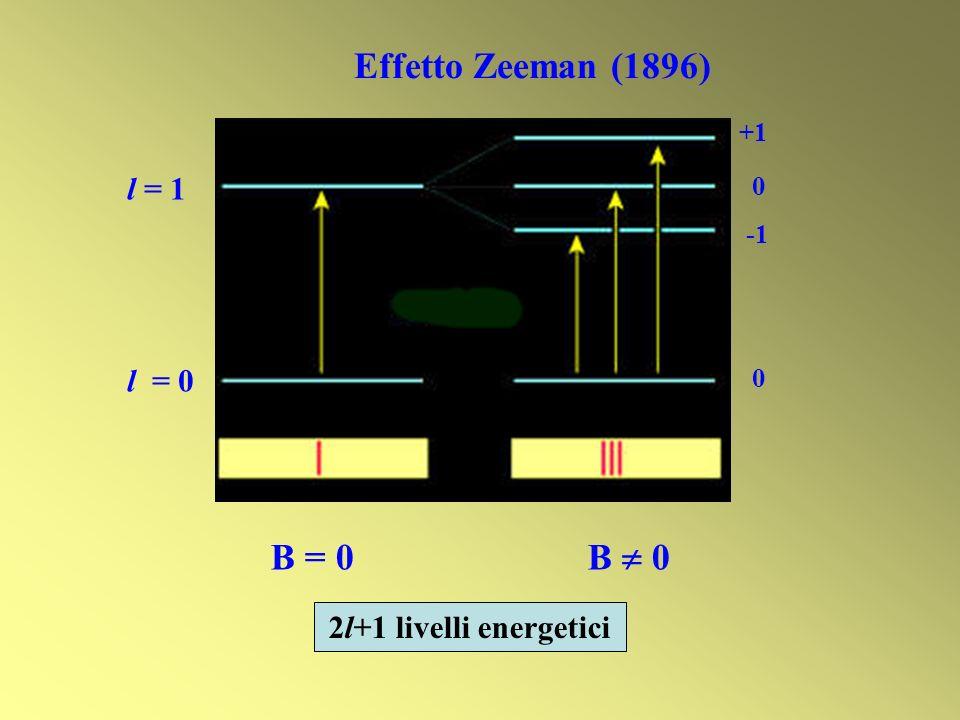 B = 0 B 0 l = 1 l = 0 Effetto Zeeman (1896) +1 0 0 2l+1 livelli energetici