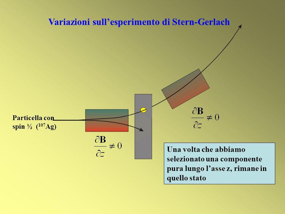 Una volta che abbiamo selezionato una componente pura lungo lasse z, rimane in quello stato Variazioni sullesperimento di Stern-Gerlach Particella con