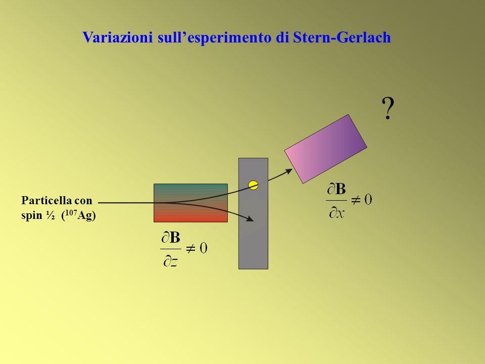 ? Variazioni sullesperimento di Stern-Gerlach Particella con spin ½ ( 107 Ag)