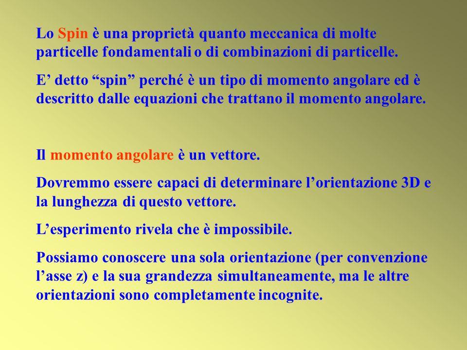 Lo Spin è una proprietà quanto meccanica di molte particelle fondamentali o di combinazioni di particelle. E detto spin perché è un tipo di momento an