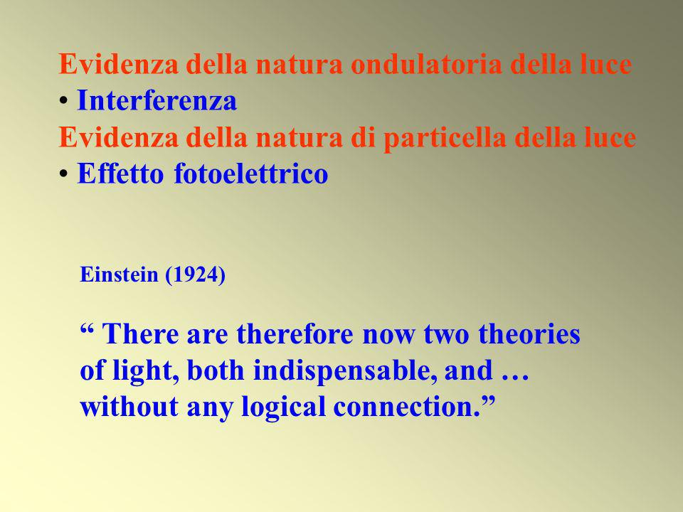 Einstein (1924) There are therefore now two theories of light, both indispensable, and … without any logical connection. Evidenza della natura ondulat