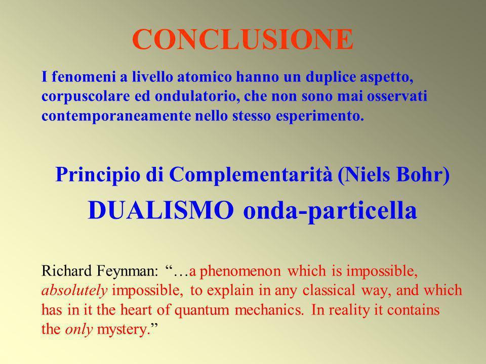 CONCLUSIONE I fenomeni a livello atomico hanno un duplice aspetto, corpuscolare ed ondulatorio, che non sono mai osservati contemporaneamente nello st