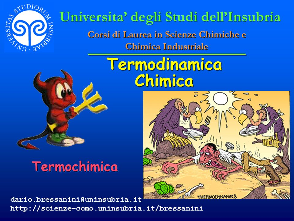 Termodinamica Chimica TermochimicaTermochimica Universita degli Studi dellInsubria Corsi di Laurea in Scienze Chimiche e Chimica Industriale dario.bre