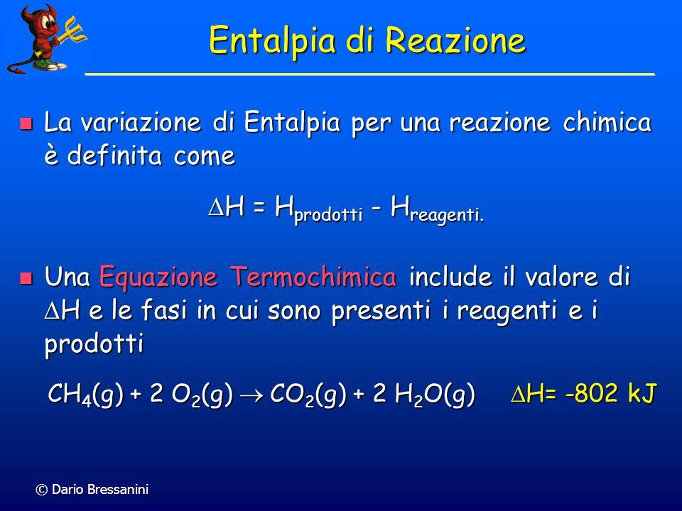© Dario Bressanini Entalpia di Reazione La variazione di Entalpia per una reazione chimica è definita come La variazione di Entalpia per una reazione