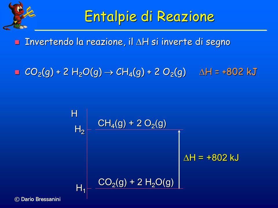 © Dario Bressanini Entalpie di Reazione Invertendo la reazione, il H si inverte di segno Invertendo la reazione, il H si inverte di segno CO 2 (g) + 2