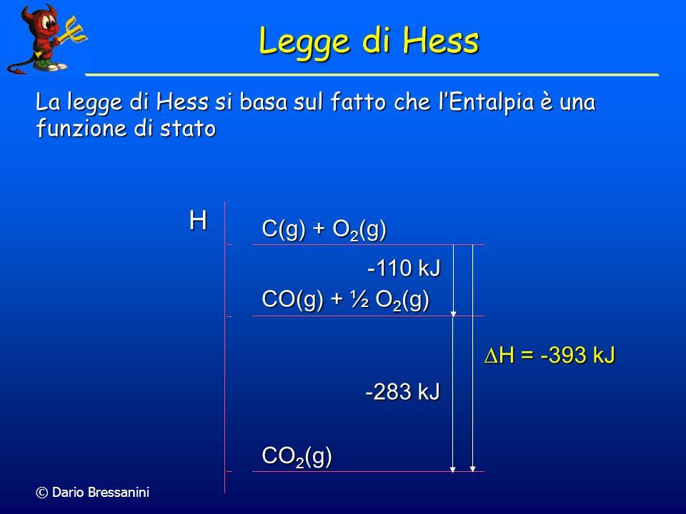 © Dario Bressanini Legge di Hess La legge di Hess si basa sul fatto che lEntalpia è una funzione di stato H C(g) + O 2 (g) CO(g) + ½ O 2 (g) CO 2 (g)
