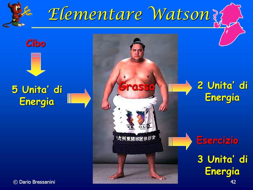 © Dario Bressanini42 Cibo Elementare Watson Elementare Watson Grasso 5 Unita di Energia 2 Unita di Energia 3 Unita di Energia Esercizio