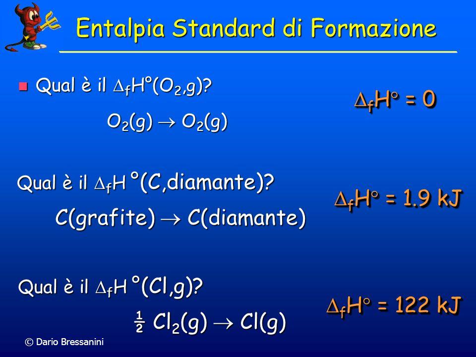 © Dario Bressanini Qual è il f H°(O 2, g )? Qual è il f H°(O 2, g )? O 2 (g) O 2 (g) O 2 (g) O 2 (g) Qual è il f H °(Cl,g)? ½ Cl 2 (g) Cl(g) ½ Cl 2 (g