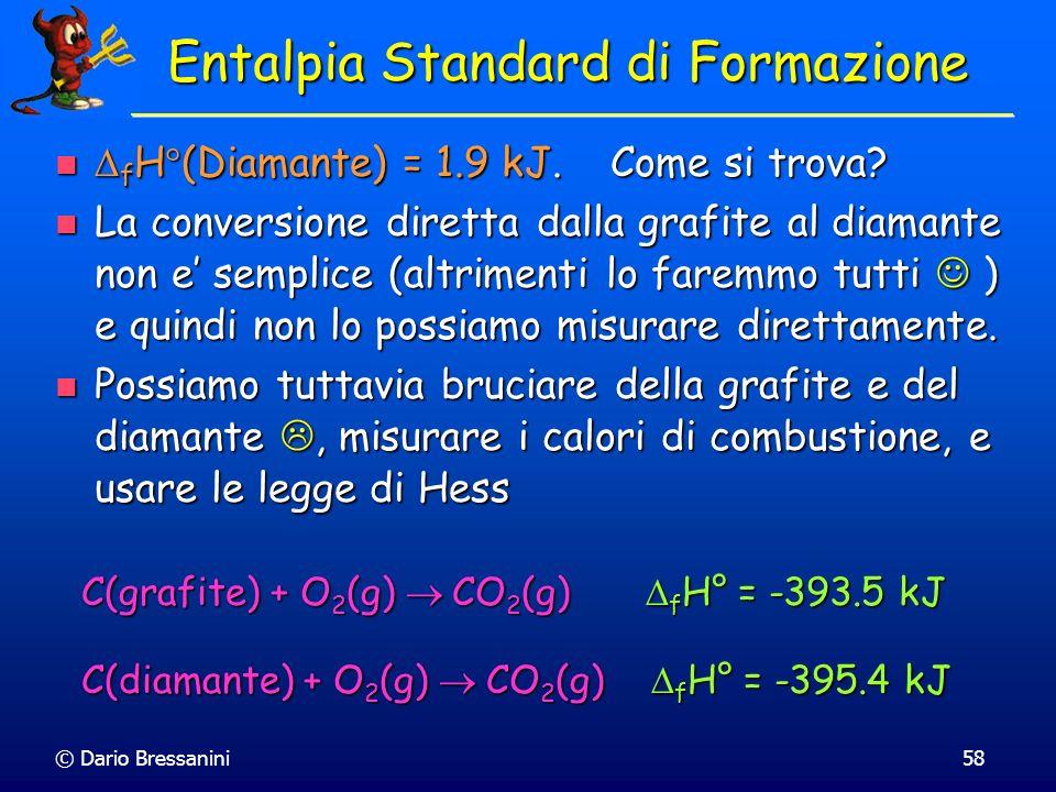 © Dario Bressanini58 Entalpia Standard di Formazione f H (Diamante) = 1.9 kJ. Come si trova? f H (Diamante) = 1.9 kJ. Come si trova? La conversione di