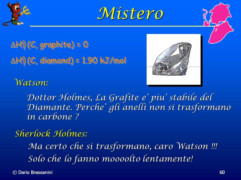 © Dario Bressanini60 Mistero Dottor Holmes, La Grafite e piu stabile del Diamante. Perche gli anelli non si trasformano in carbone ? Watson: Ma certo