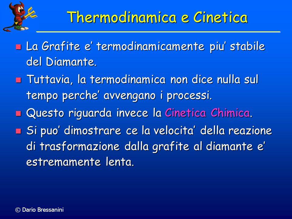 © Dario Bressanini Thermodinamica e Cinetica La Grafite e termodinamicamente piu stabile del Diamante. La Grafite e termodinamicamente piu stabile del
