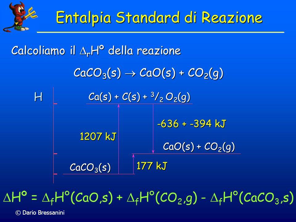© Dario Bressanini Calcoliamo il r Hº della reazione CaCO 3 (s) CaO(s) + CO 2 (g) H CaCO 3 (s) CaO(s) + CO 2 (g) Ca(s) + C(s) + 3 / 2 O 2 (g) 1207 kJ