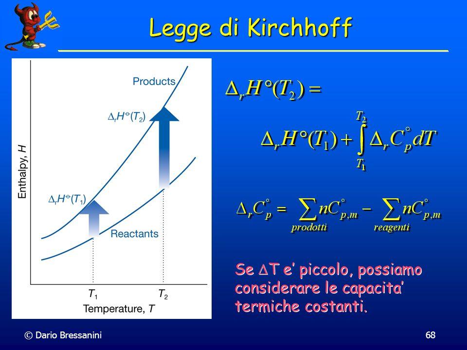 © Dario Bressanini68 Legge di Kirchhoff Se T e piccolo, possiamo considerare le capacita termiche costanti.